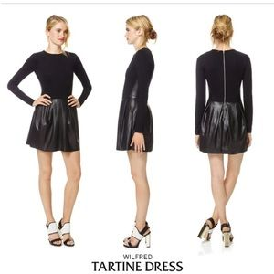 Wilfred Long Sleeve Faux Leather Tartine Dress